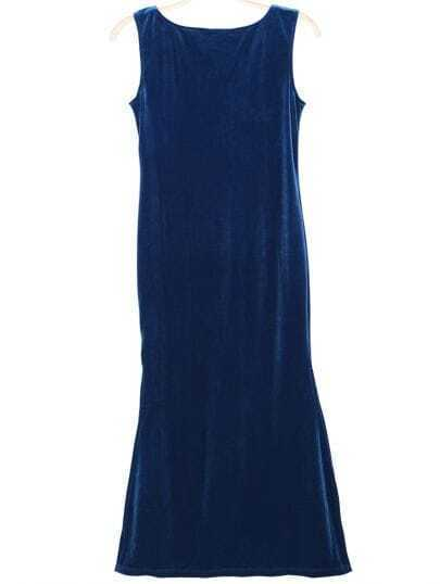 Blue Sleeveless Contrast Lace Split Party Dress