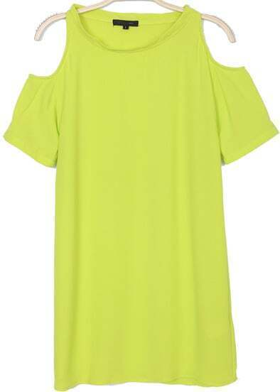 Yellow Off the Shoulder Straight Chiffon Dress
