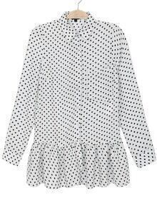 White Lapel Long Sleeve Polka Dot Loose Blouse
