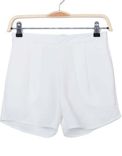 White Zipper Slim Chiffon Shorts
