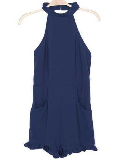 Blue Halter Backless High Waist Jumpsuit