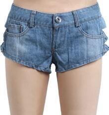 Blue Low Waist Hollow Bow Denim Shorts