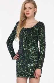 Green Round Neck Long Sleeve Sequined Bodycon Dress