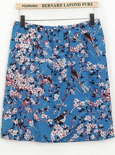 Blue High Waist Floral Birds Print Skirt