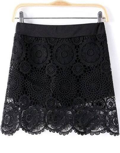 Black Hollow Floral Crochet Lace Skirt