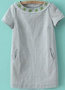 Light Blue Short Sleeve Embroidered Pockets Dress