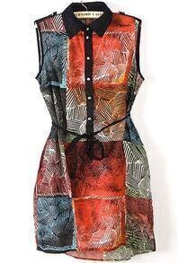 Red Lapel Sleeveless Plaid Epaulet Dress