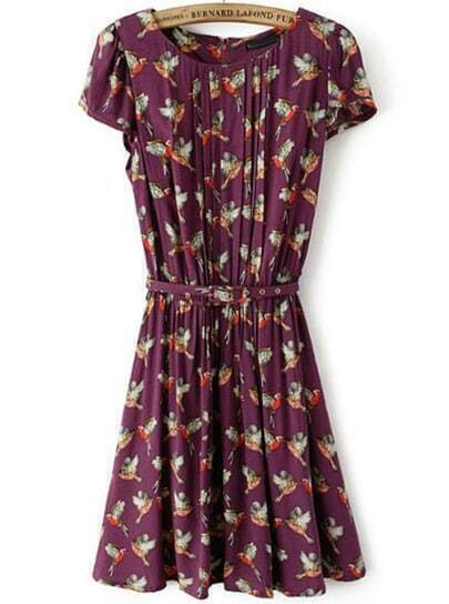 Purple Short Sleeve Birds Print Pleated Dress