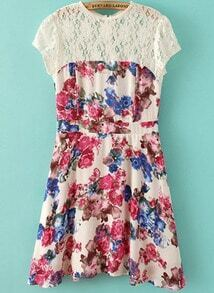 White Contrast Lace Short Sleeve Floral Dress
