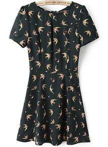 Black Short Sleeve Vintage Swallow Print Dress