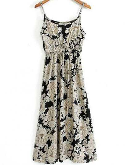 Black Spaghetti Strap Vintage Floral Dress