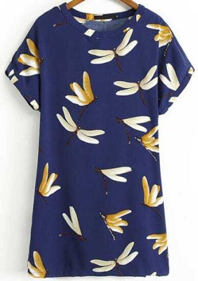 Blue Short Sleeve Dragonfly Print Straight Dress