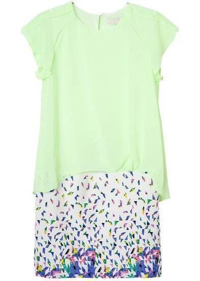 Green Ruffle Short Sleeve Floral Chiffon Dress