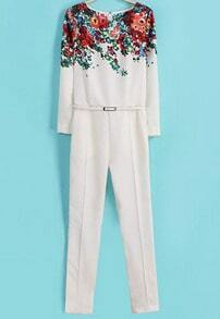 White Long Sleeve Floral Belt Jumpsuit