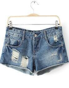 Blue Bleached Ripped Denim Shorts