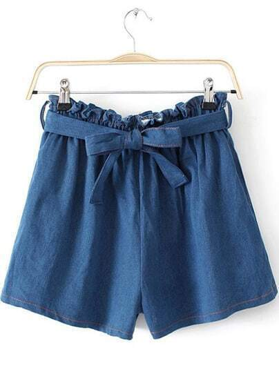 Blue Elastic Waist Bow Denim Shorts