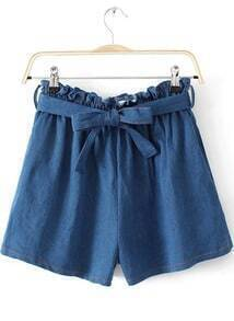 Blue Elastic Waist Bow Denim Shorts