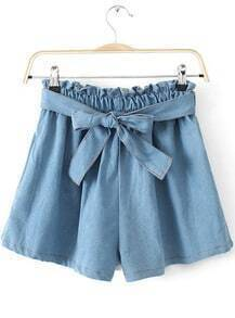 Light Blue Elastic Waist Bow Denim Shorts