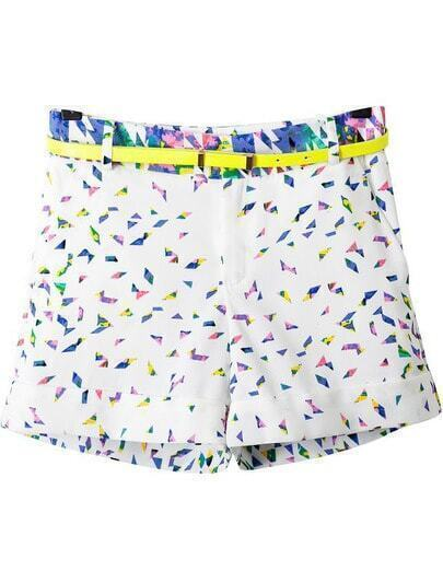 White Geometric Print Straight Shorts