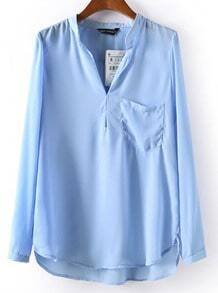 Blue Stand Collar Long Sleeve Pocket Blouse