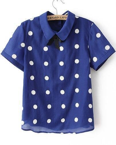 Blue Lapel Short Sleeve Polka Dot Chiffon Blouse