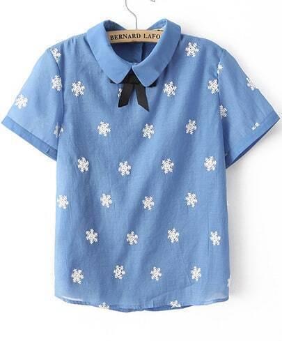 Blue Lapel Short Sleeve Snowflake Pattern Blouse