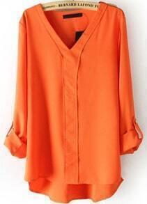 Orange V Neck Long Sleeve Rivet Dipped Hem Blouse