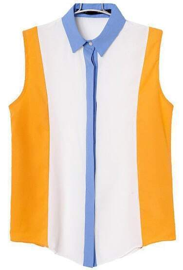 White Contrast Yellow Sleeveless Chiffon Blouse