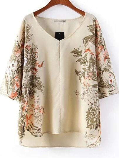 White V Neck Half Sleeve Floral Loose Blouse