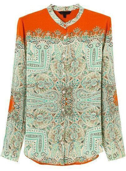 Orange Long Sleeve Tribal Print Loose Blouse