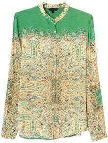 Green Long Sleeve Tribal Print Loose Blouse
