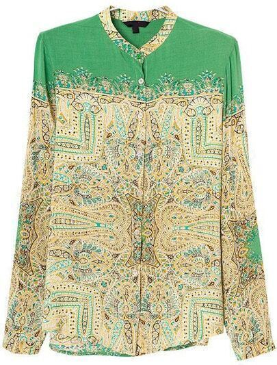 Green Long Sleeve Tribal Print Loose Blouse