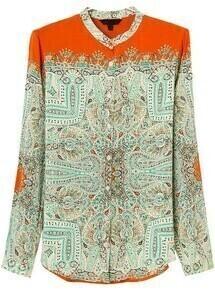 Orange Long Sleeve Tribal Print Loose Blouse