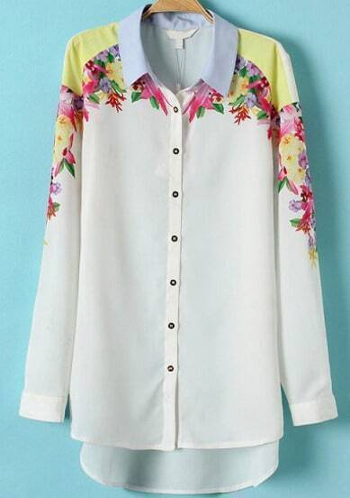 White Long Sleeve Floral Dipped Hem Chiffon Blouse