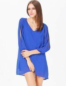 Blue Split Sleeve V Neck Loose Dress