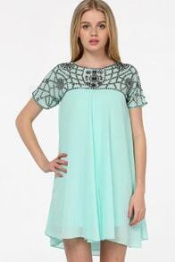 Green Short Sleeve Bead Chiffon Dress