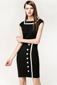 Black Contrast White Button Dress