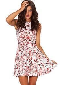 White Sleeveless Print Ruffle Dress