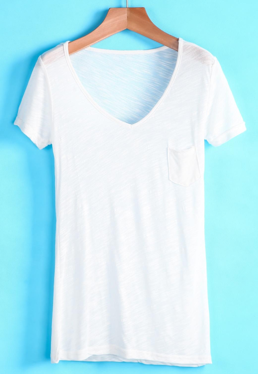 White V Neck Short Sleeve Pocket T Shirt Shein Sheinside