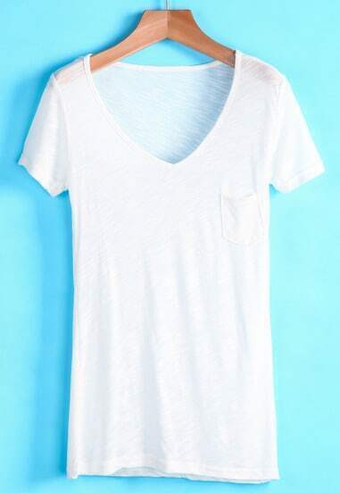 White V Neck Short Sleeve Pocket T-Shirt