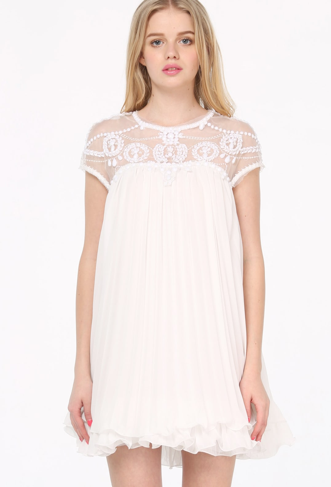 White Lace Pleated Chiffon Dress