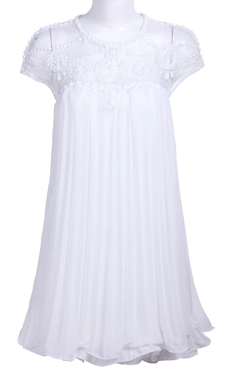 White Lace Pleated Chiffon Dress