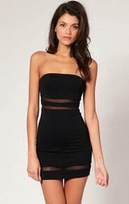 Black Contrast Mesh Yoke Bodycon Dress
