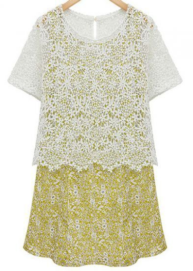 Yellow Hollow Lace Floral Print Dress