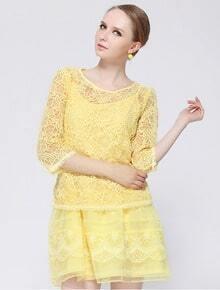 Yellow Half Sleeve Embroidery Organza Dress
