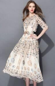 Apricot Half Sleeve Coins Print Belt Dress