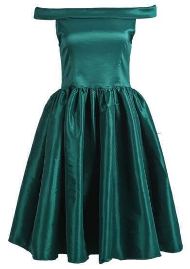 Green Off The Shoulder Flare Short Dress