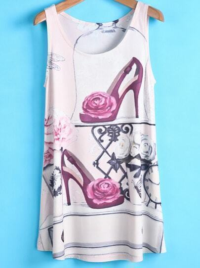 Beige High Heels Print Tank Top