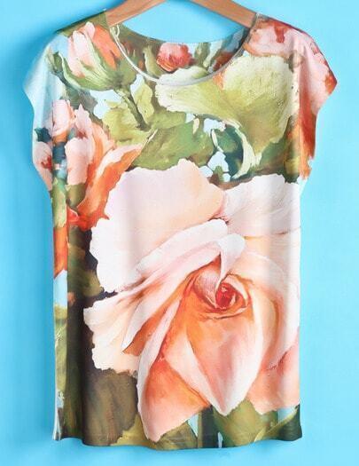 Green Short Sleeve Flowers Print T-shirt