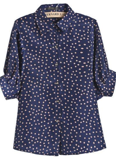 Navy Batwing Short Sleeve Polka Dots Print Blouse